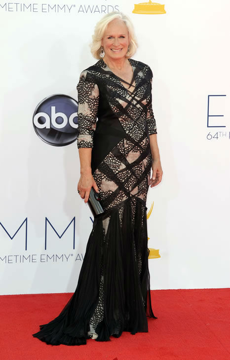 "<div class=""meta ""><span class=""caption-text "">Glenn Close arrives at the 64th Primetime Emmy Awards at the Nokia Theatre on Sunday, Sept. 23, 2012, in Los Angeles. Close is nominated for best actress in a drama series for her role as Patty Hewes in ""Damages.? (Photo by Matt Sayles/Invision/AP)</span></div>"