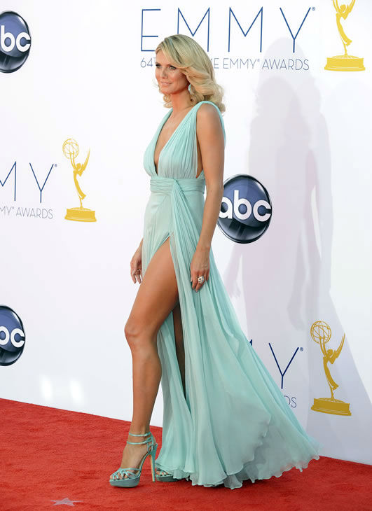 "<div class=""meta ""><span class=""caption-text "">Model Heidi Klum arrives at the 64th Primetime Emmy Awards at the Nokia Theatre on Sunday, Sept. 23, 2012, in Los Angeles. (Photo by Jordan Strauss/Invision/AP)</span></div>"
