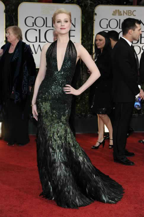 Evan Rachel Wood poses on the red carpet at the 69th Annual Golden GlobeAwards Sunday, Jan. 15, 2012, in Los Angeles. (AP Photo/Chris Pizzello)