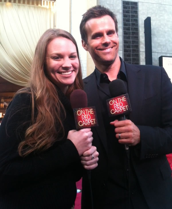 Jaclyn DeTore and Cameron Mathison rehearse on the red carpet the Saturday before the 84th Academy Awards in Los Angeles. <span class=meta>(KGO)</span>