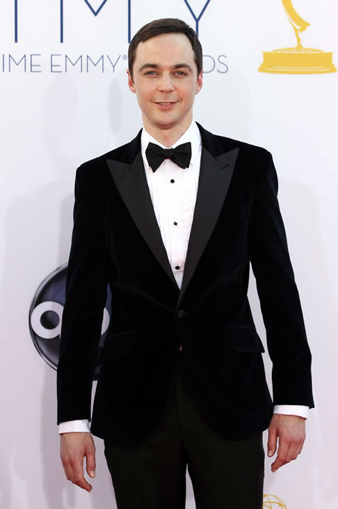 Jim Parsons arrives at the 64th Primetime Emmy Awards at the Nokia Theatre on Sunday, Sept. 23, 2012, in Los Angeles. (Photo by Matt Sayles/Invision/AP)