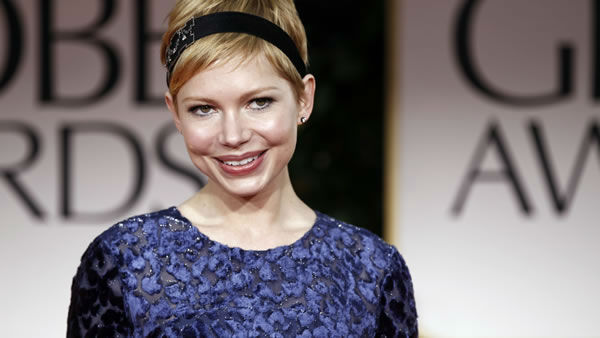 Michelle Williams arrives at the 69th Annual Golden Globe Awards Sunday, Jan. 15, 2012, in Los Angeles. (AP Photo/Matt Sayles)