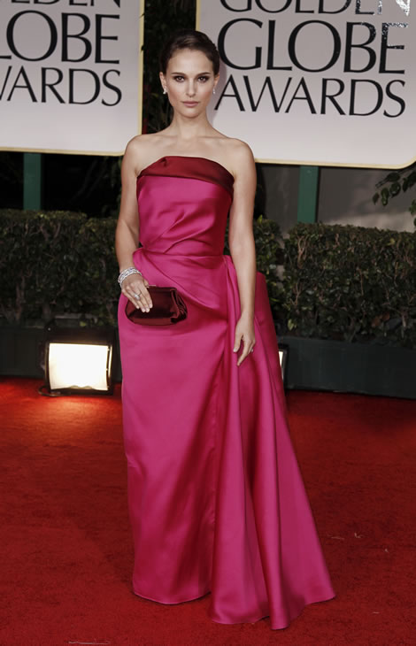 Natalie Portman arrives at the 69th Annual Golden Globe Awards Sunday, Jan. 15, 2012, in Los Angeles. (AP Photo/Matt Sayles)