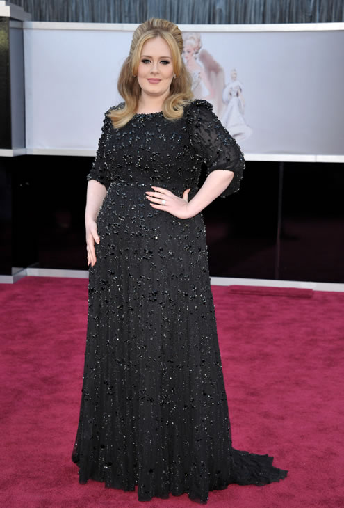 Singer Adele arrives at the Oscars at the Dolby Theatre on Sunday Feb. 24, 2013, in Los Angeles. (Photo by John Shearer/Invision/AP)
