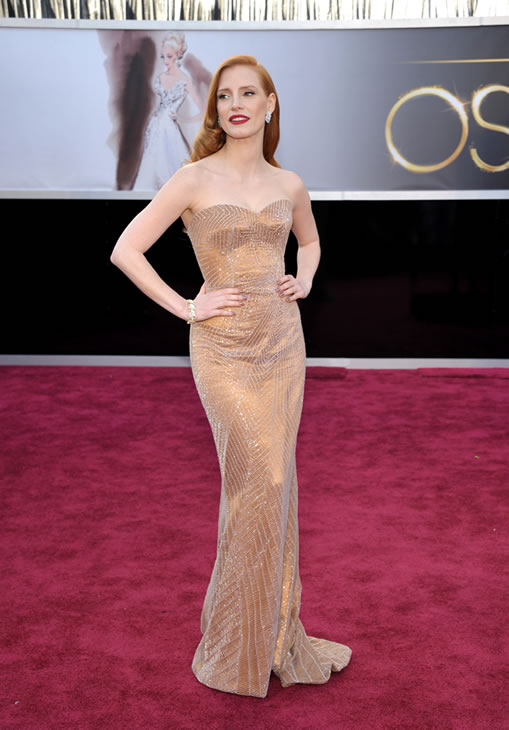 Actress Jessica Chastain arrives at the 85th Academy Awards at the Dolby Theatre on Sunday Feb. 24, 2013, in Los Angeles. (Photo by John Shearer/Invision/AP)