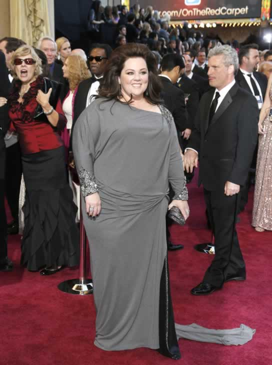 Melissa McCarthy arrives at the Oscars at the Dolby Theatre on Sunday Feb. 24, 2013, in Los Angeles. (Photo by Todd Williamson/Invision/AP)
