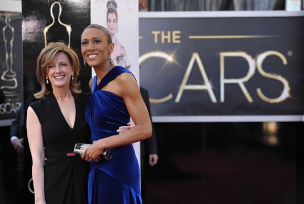 "<div class=""meta ""><span class=""caption-text "">Co-Chair of Disney Media Networks and President of Disney-ABC Television Group Anne Sweeney and TV personality Robin Roberts arrives at the 85th Academy Awards at the Dolby Theatre on Sunday Feb. 24, 2013, in Los Angeles. (Photo by John Shearer/Invision/AP)</span></div>"