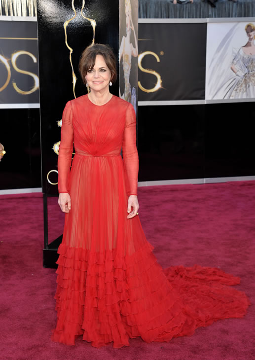 Actress Sally Field arrives at the 85th Academy Awards at the Dolby Theatre on Sunday Feb. 24, 2013, in Los Angeles. (Photo by John Shearer/Invision/AP)