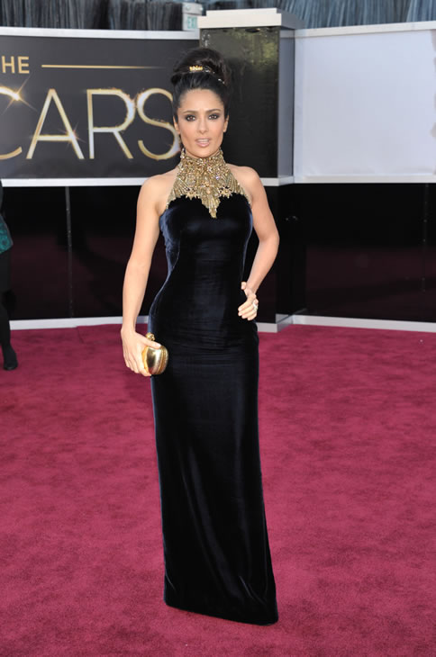 Actress Salma Hayek arrives at the Oscars at the Dolby Theatre on Sunday Feb. 24, 2013, in Los Angeles. (Photo by John Shearer/Invision/AP)