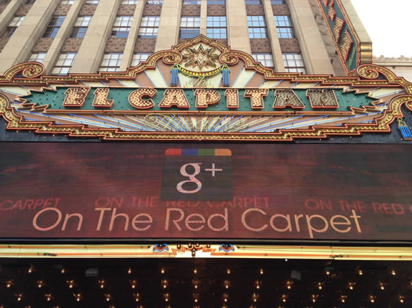 Here is a photo of the El Capitan marquee in Los Angeles taken on Sunday before the 84th Academy Awards. <span class=meta>(Rosendo Pena&#47;KGO)</span>
