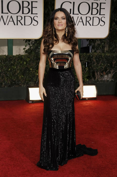 Salma Hayek arrives at the 69th Annual Golden Globe Awards Sunday, Jan. 15, 2012, in Los Angeles. (AP Photo/Matt Sayles)
