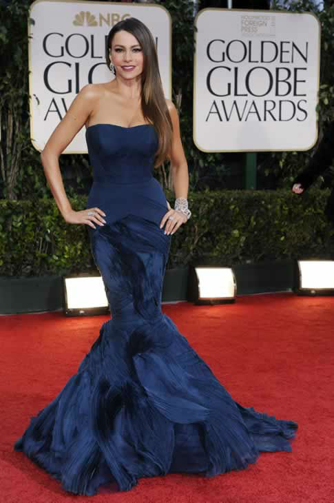 Sofía Vergara arrives at the 69th Annual Golden Globe Awards Sunday, Jan. 15, 2012, in Los Angeles. (AP Photo/Chris Pizzello)