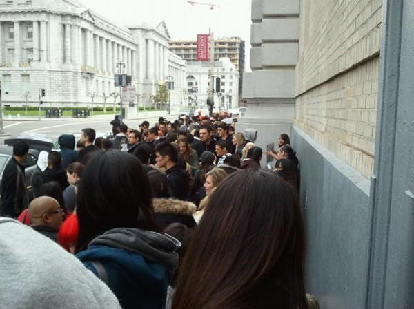 Fans waiting for Britney Spears' free GMA concert in San Francisco sent in their photos. (Photo submitted by Linda via uReport)