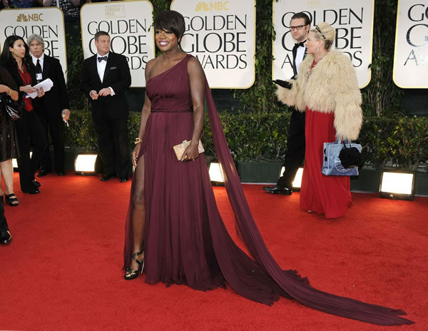 Viola Davis poses on the red carpet at the 69th Annual Golden Globe Awards Sunday, Jan. 15, 2012, in Los Angeles. (AP Photo/Chris Pizzello)