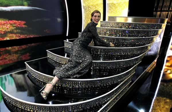 Show host Anne Hathaway is seen at the 83rd Academy Awards on Sunday, Feb. 27, 2011, in the Hollywood section of Los Angeles. (AP Photo/Chris Carlson)