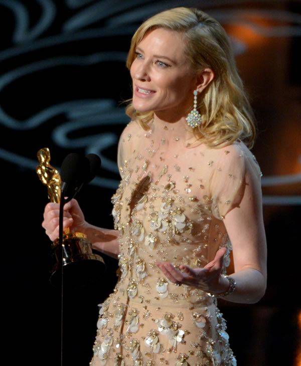 "Cate Blanchett accepts the award for best actress in a leading role for ""Blue Jasmine"" during the Oscars at the Dolby Theatre on Sunday, March 2, 2014, in Los Angeles. (Photo by John Shearer/Invision/AP)"