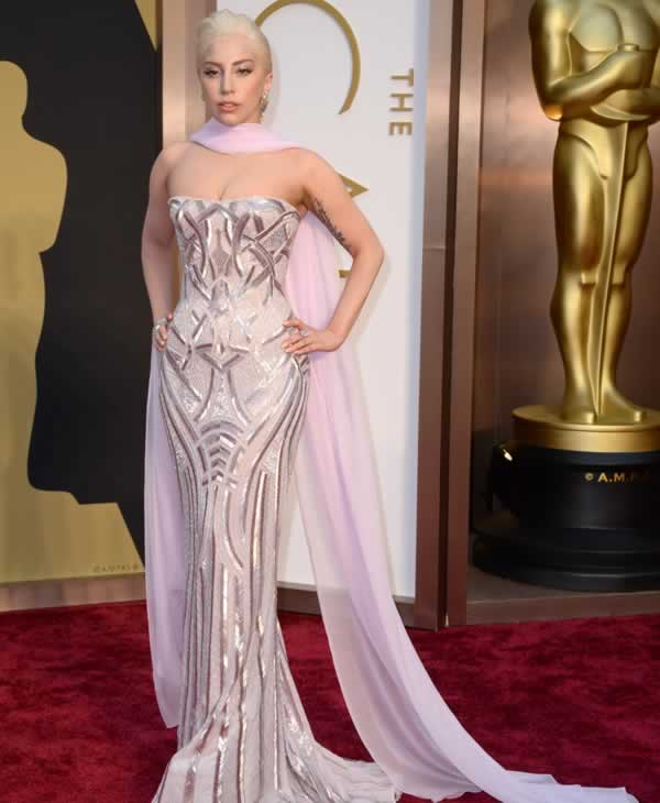 Lady Gaga arrives at the Oscars.