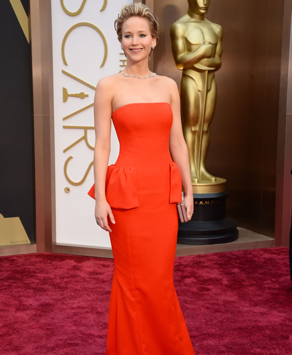 Jennifer Lawrence arrives at the Oscars on...