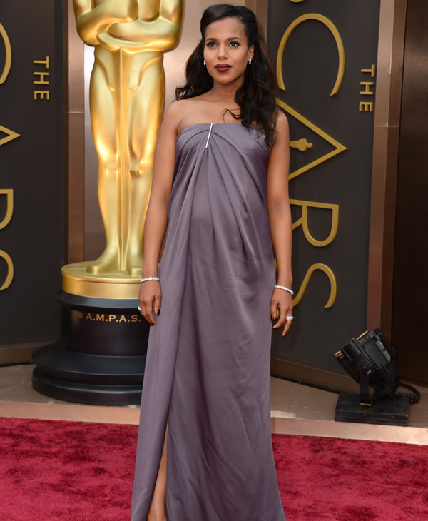 Kerry Washington arrives at the Oscars on Sunday, March 2, 2014, at the Dolby Theatre in Los Angeles. (Photo by Jordan Strauss/Invision/AP)