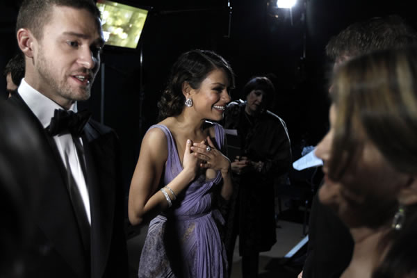 Presenters Mila Kunis and Justin Timberlake backstage at the 83rd Academy Awards on Sunday, Feb. 27, 2011, in the Hollywood section of Los Angeles. (AP Photo/Mark J. Terrill)