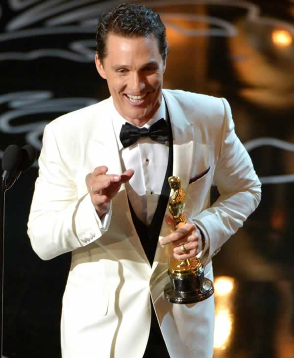 "<div class=""meta ""><span class=""caption-text "">Matthew McConaughey accepts the award for best actor in a leading role for ""Dallas Buyers Club"" during the Oscars at the Dolby Theatre on Sunday, March 2, 2014, in Los Angeles. (Photo by John Shearer/Invision/AP)</span></div>"