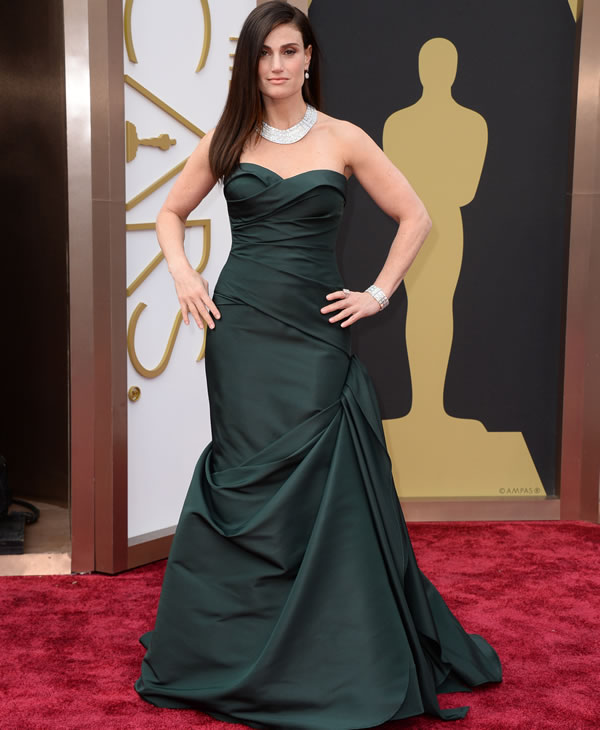 Idina Menzel arrives at the Oscars on Sunday, March 2, 2014, at the Dolby Theatre in Los Angeles. (Photo by Jordan Strauss/Invision/AP)