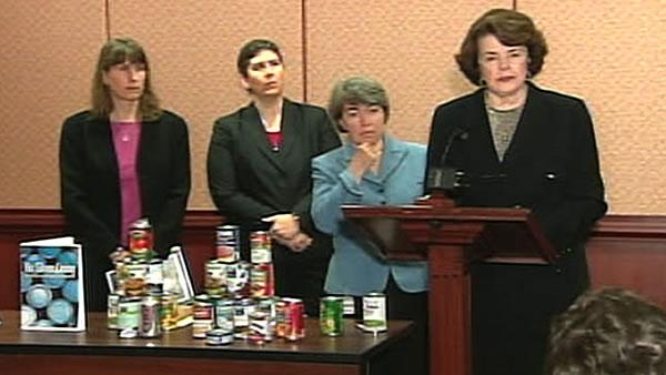 Sen. Feinstein introduces legislation to ban BPA