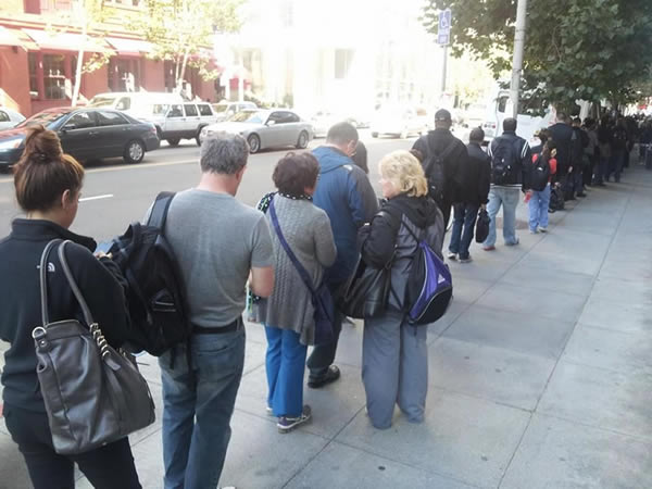 People waiting for the BATR shuttle on Howard Street. <span class=meta>(KGO)</span>