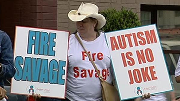 The protesters are upset with savages controversial comments about autism. (ABC7)