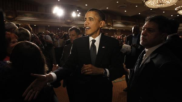 President Barack Obama reaches to shake hands after speaking at a fundraiser for Sen. Barbara Boxer, D-Calif., in San Francisco Tuesday, May 25, 2010.