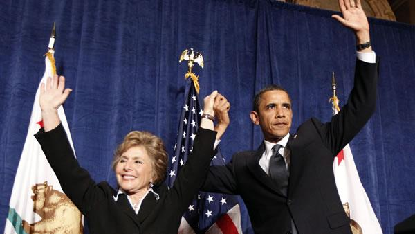 President Barack Obama waves with Sen. Barbara Boxer, D-Calif., at a fundraiser in San Francisco Tuesday, May 25, 2010.