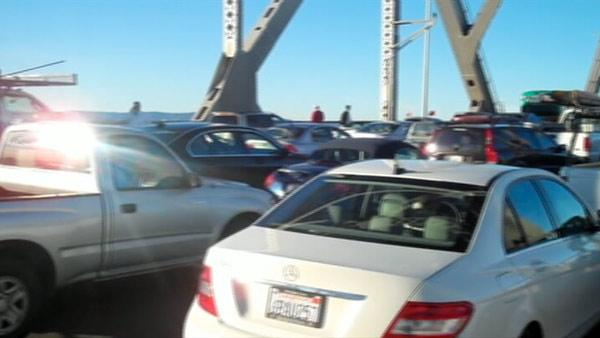 Traffic was stopped on the Bay Bridge.