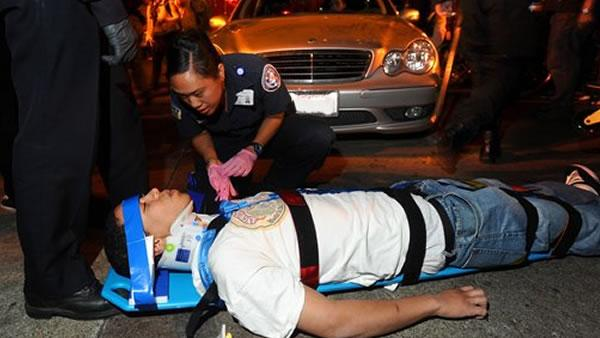 Injured Occupy Oakland protester after a car hits him