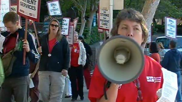 Nurses on strike at 11 Bay Area hospitals today