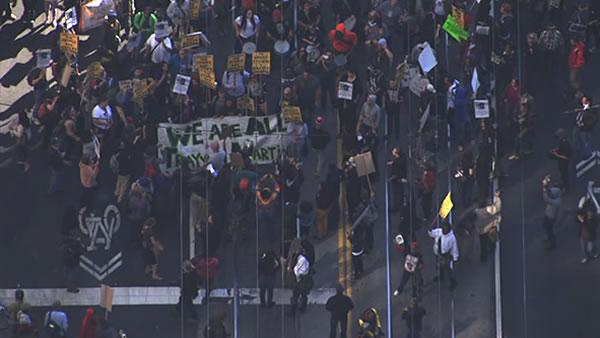 A large crowd marched down San Francisco's Market Street to Justin Herman Plaza on Sunday in support of Trayvon Martin.