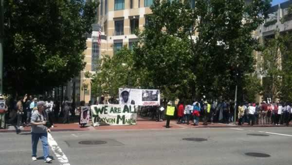 Hundreds rallied in Oakland on Saturday, July 20, 2013 to protest the verdict in the Trayvon Martin shooting case a