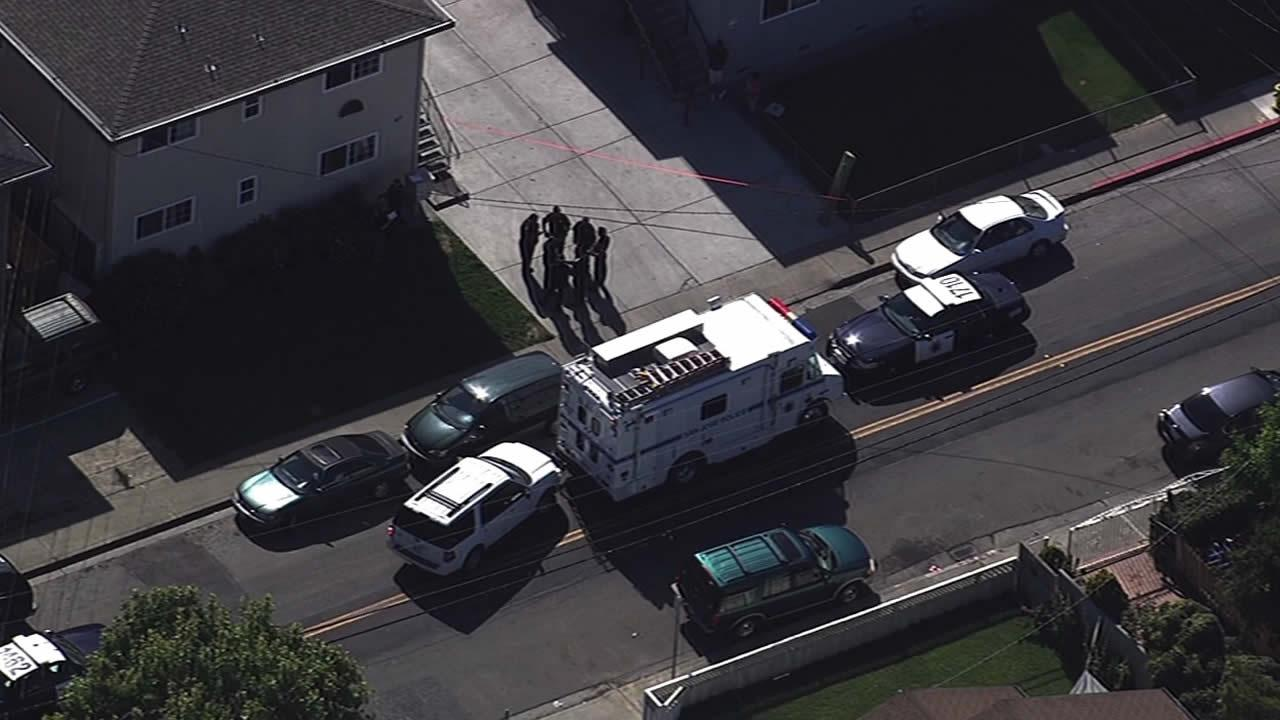 Police are searching for a suspect accused of fatally stabbing a woman at a home in East San Jose on Tuesday afternoon
