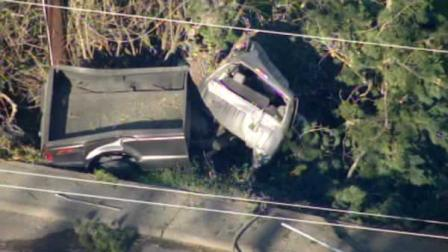 A police chase apparently ended in a crash on Camino Pablo in Orinda Tuesday afternoon.