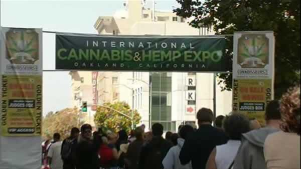 The entrance to the Cannabis and Hemp Expo in Oakland, California. Thousands of marijuana enthusiasts and advocates were in attendance at the third annual pot street fair.