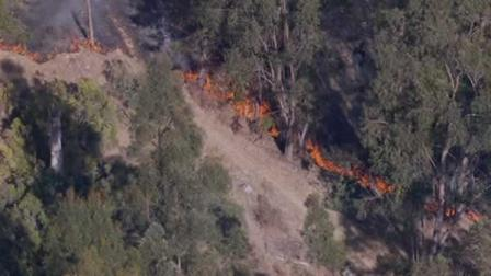 There is a fire burning in Lake Chabot Regional Park in Hayward.