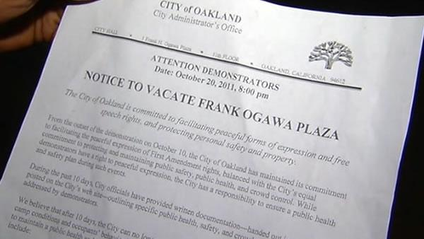 'Occupy Oakland' protesters given ultimatum