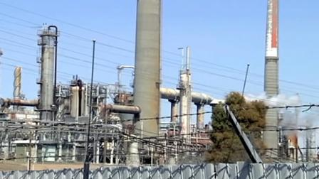 Hazmat crews were called to the Shell Refinery in Martinez after a fire was reported Monday afternoon.