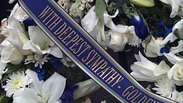 Flowers at the funeral of CHP Officer Kenyon Youngstrom
