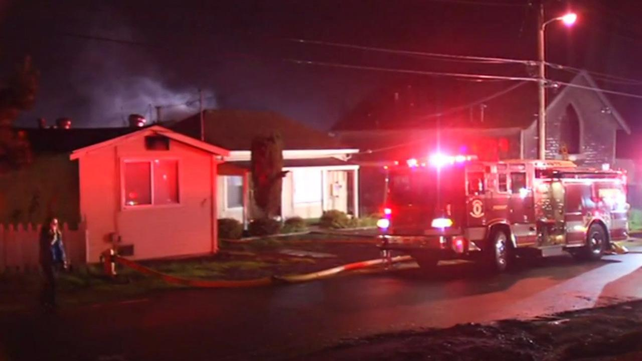 Two-alarm house fire in Fremont.