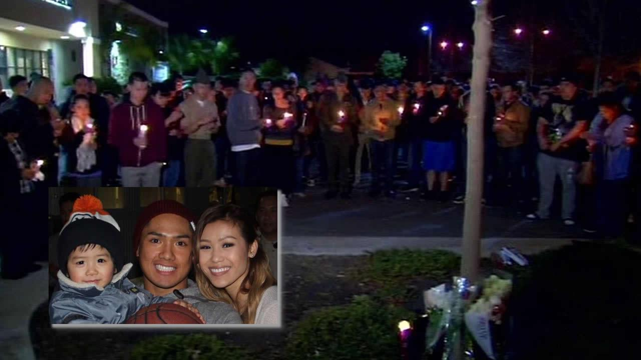 Crowd gathers where Lance Cpl. Andrew Silva died in Fremont