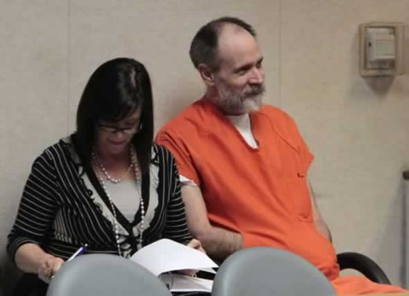 Phillip Garrido and his court appointed attorney, Susan Gellman, smile at a comment made by Judge Douglas C. Phimister, during his sentencing hearing for the 1991 kidnapping of Jaycee Dugard held at the El Dorado County Superior Court in Placerville, Calif., Thursday, June 2, 2011. Garrido was sentenced to 431 year to life in state prison.(AP Photo/Rich Pedroncelli, pool)
