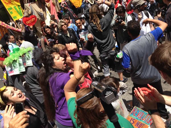 May Day protesters march in downtown San Francisco on Montgomery Street (Cathy Cavey/KGO)