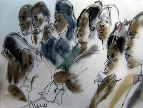 Sketch of Oscar Grant&#39;s family during the Johannes Mehserle senting. Mehserle killed Grant on New Years Day 2009 when he used this gun instead of his Taser after an altercation at the Fruitvale BART station. <span class=meta>(Sketches by Mona Edwards)</span>