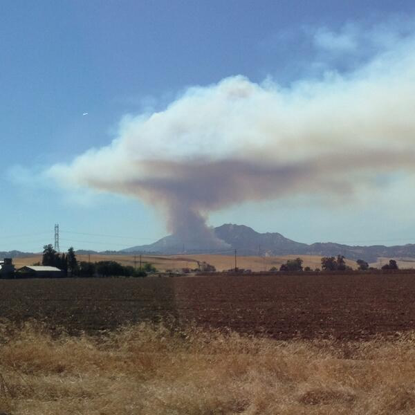 Smoke from a wildfire burning on Mount Diablo was visible from several miles away. (Photo submitted via Twitter from @camnorfolk)