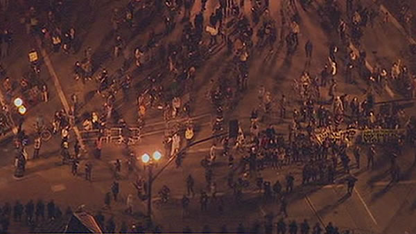 "An ""Occupy Oakland"" march began at 6 p.m. Tuesday downtown and continued late into the night. Police used tear gas several times to disperse the crowd."